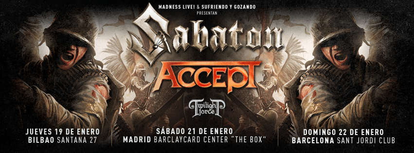 Sabaton, Accept y Twilight Force de gira en Bilbao, Madrid y Barcelona