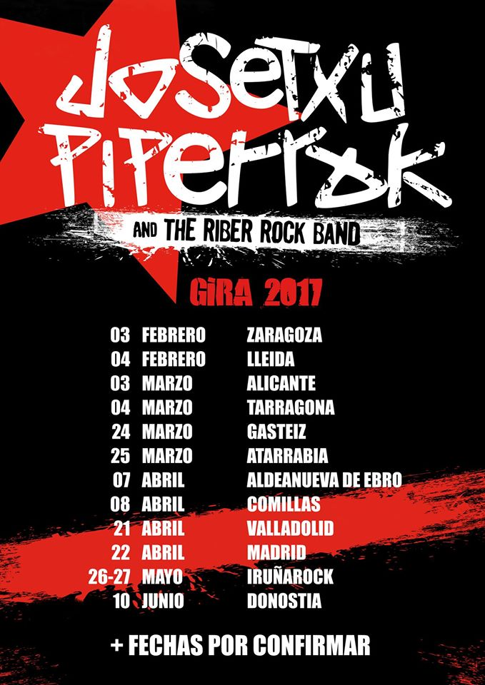 Primeras fechas de Josetxu Piperrak & The Riber Rock Band del 2017