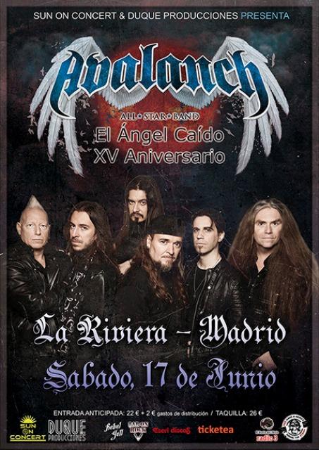Cartel oficial del concierto especial de Avalanch en Madrid el 17 de junio