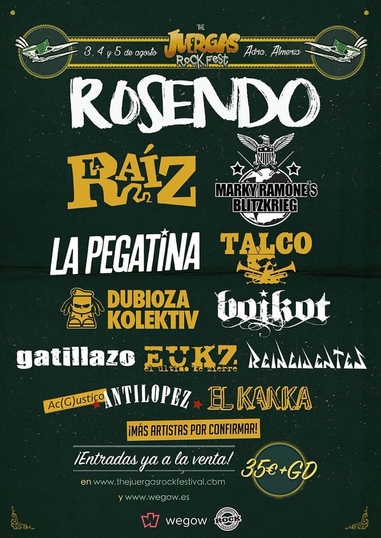 Nuevas confirmaciones para el festival The Juerga's Rock de Adra, Almería
