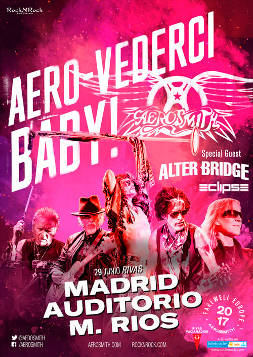 Alter Bridge y Eclipse abrirán el concierto de Aerosmith en Madrid