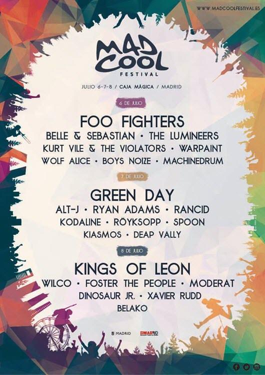 Foo Fighters, Green Day y Kings of Leon en el Mad Cool Festival 2017
