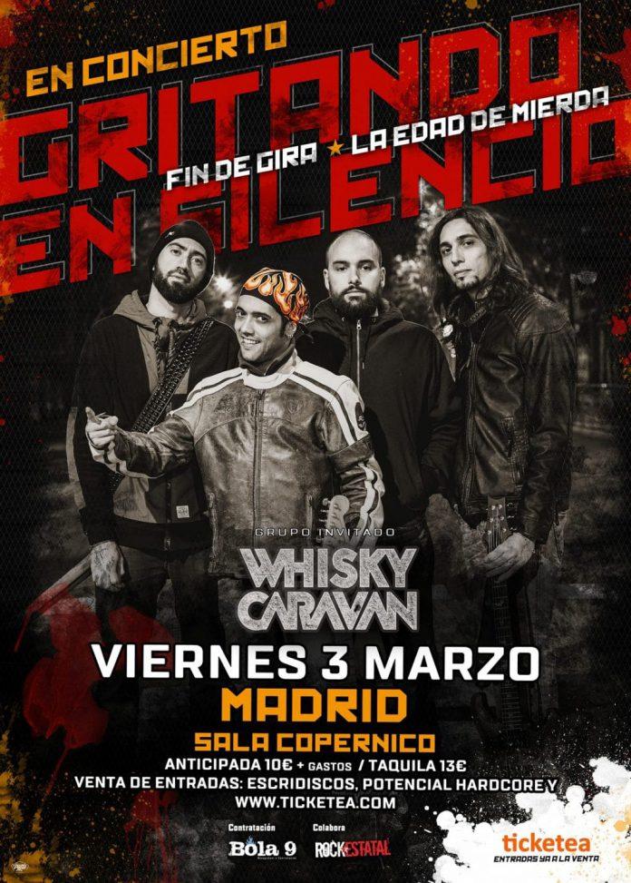 Gritando en Silencio y Whisky Caravan estarán actuando en Madrid el próximo 3 de marzo