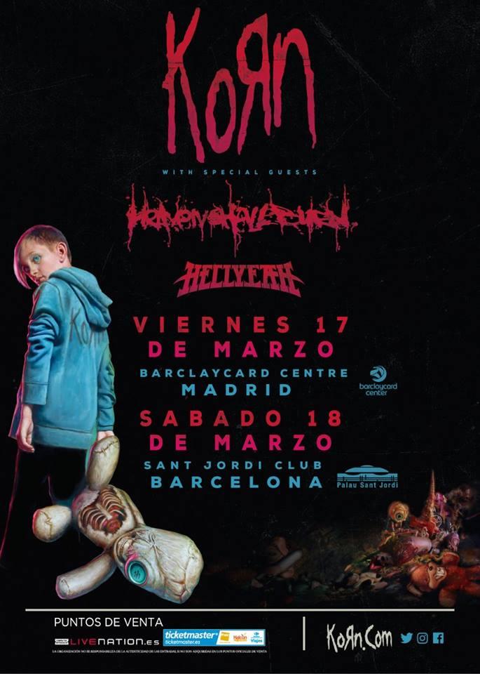 Korn estará actuando en Madrid y Barcelona en el mes de marzo