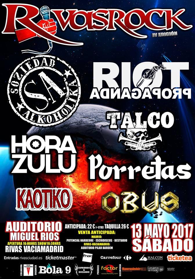 Cartel definitivo del IV Festival Rivas Rock 2017