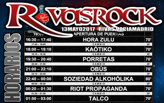 Horario definitivo de actuaciones del Festival Rivas Rock 2017