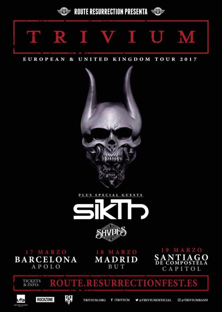 Trivium de visita por Barcelona, Madrid y Santiago los días 17, 18 y 19 de marzo