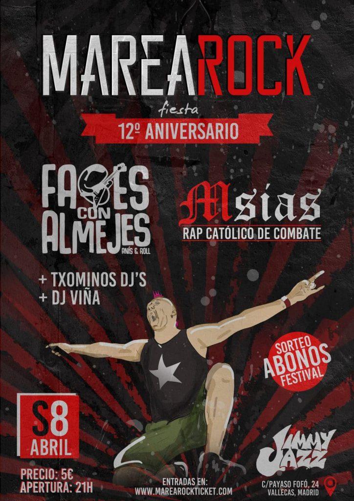 Cartel de la fiesta 12 aniversario del Marearock en la sala Jimmy Jazz de Vallekas