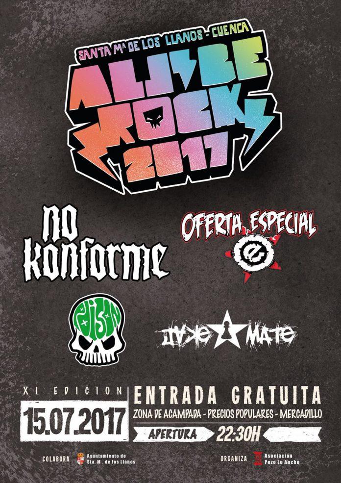Cartel definitivo del festival ALJIBE ROCK 2017 de Santa Maria de los Llanos (Cuenca)