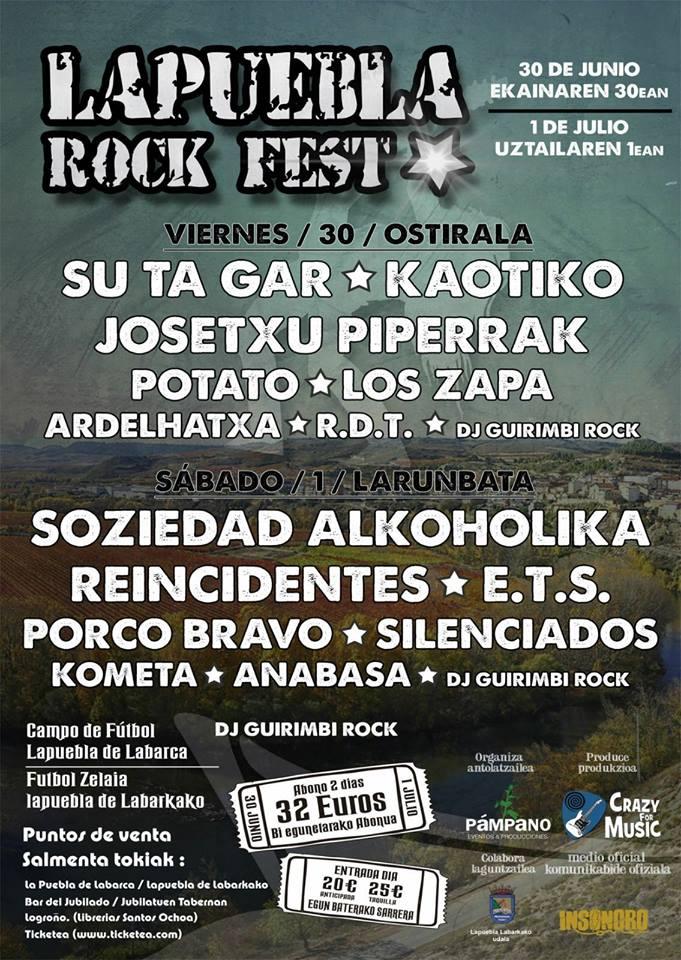Cartel definitivo de Lapuebla Rock Fest de Lapuebla de Labarca (Álava)