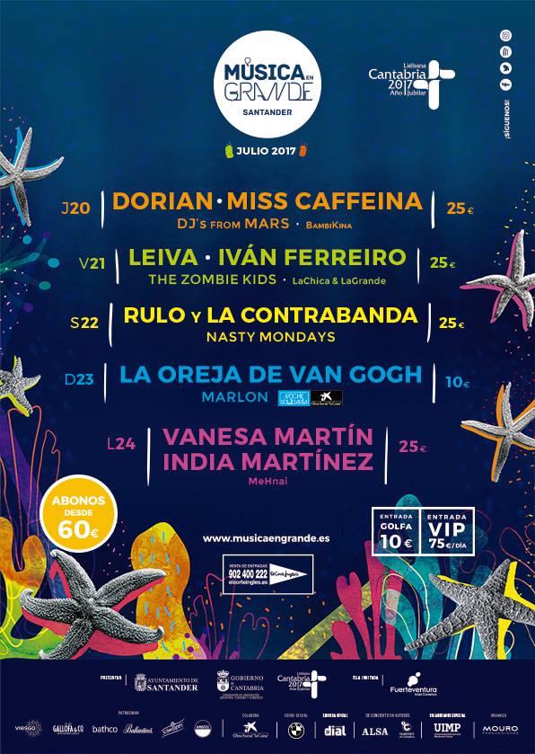 Cartel definitivo de la próxima edición del festival Música en Grande de Santander