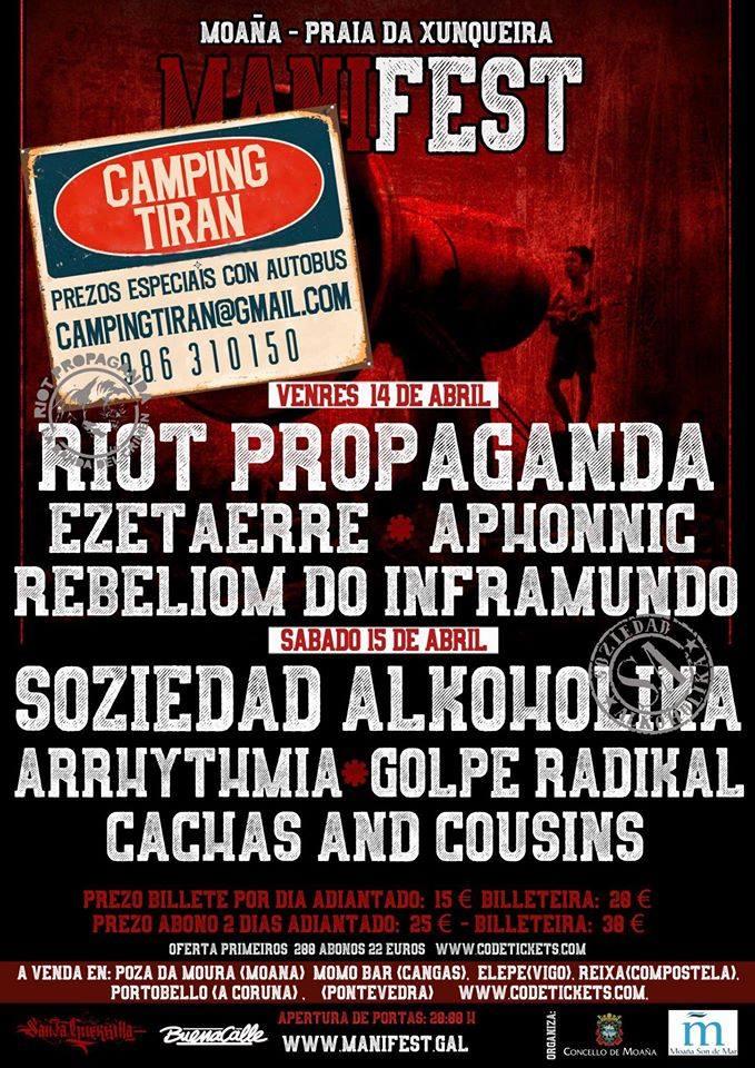 Soziedad Alkólika y Riot Propaganda encabezan el festival ManiFest que se celebra este fin de semana en Moaña