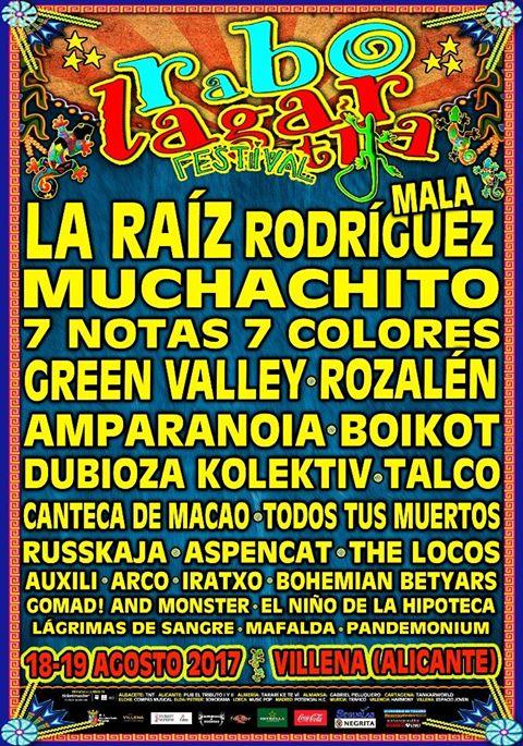 Cartel completo del Rabolagartija Festival 2017 de Villena, Alicante