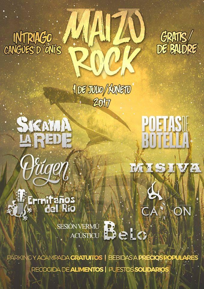 Cartel del festival Maizu Rock de Cangas de Onís, Asturias