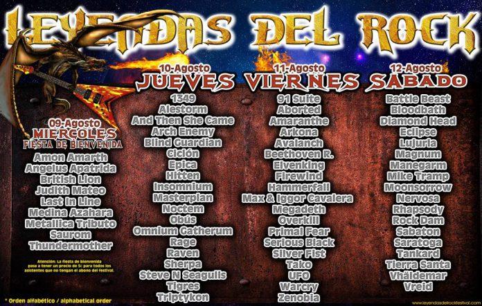 Distribución por días del Festival Leyendas del Rock de Villena
