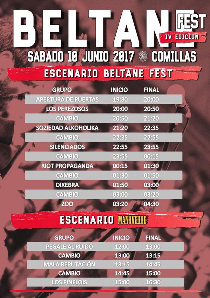 Horarios de actuaciones del Beltane Fest de Comillas, Cantabria