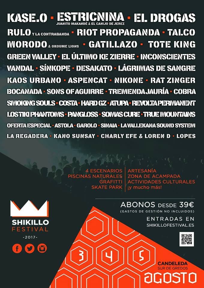 Cartel definitivo del Shikillo Festival 2017 de Candeleda, Sur de Gredos