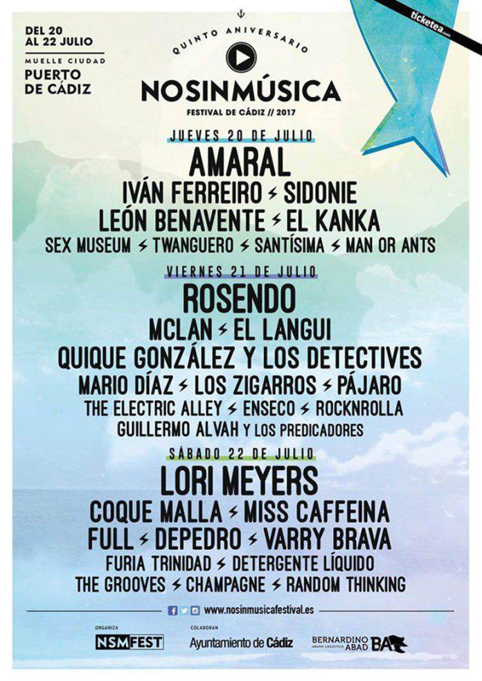 Cartel completo del Festival No Sin Música 2017 de Cádiz