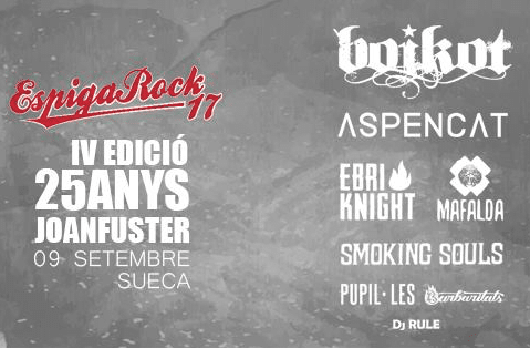 Cartel completo del IV Festival Espiga Rock de Sueca, Valencia