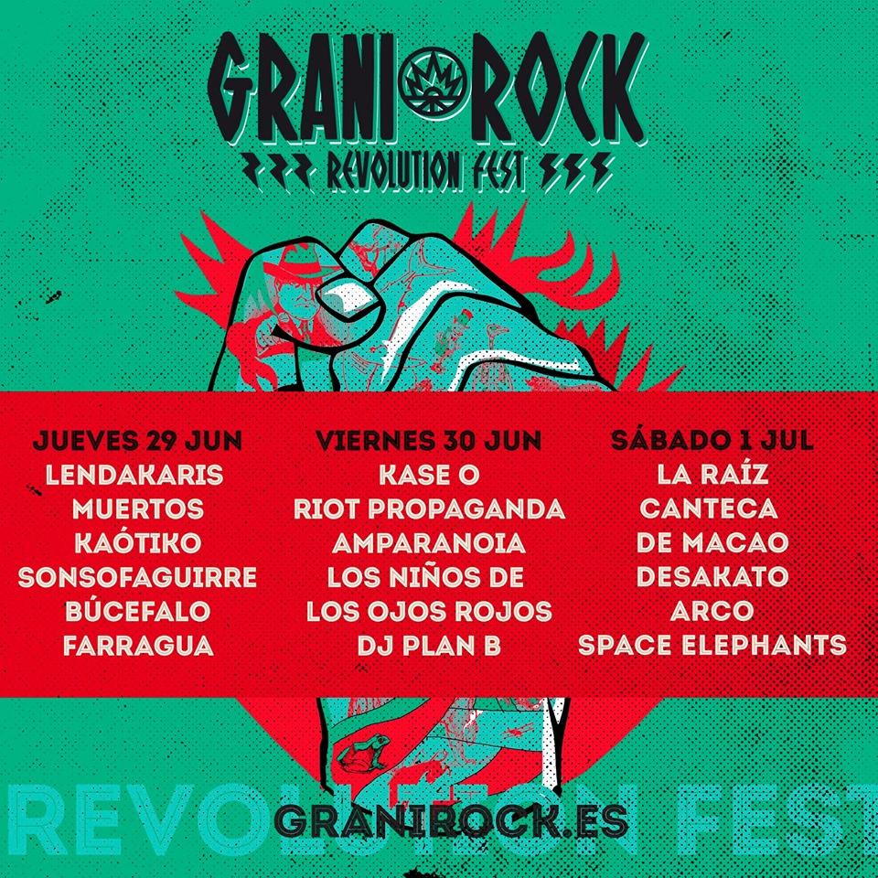 Distribución por días del Festival Granirock de Quintana de la Serena, Badajoz