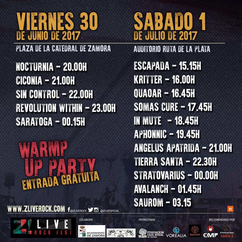 Horarios definitivos del Festival ZLive Rock de Zamora