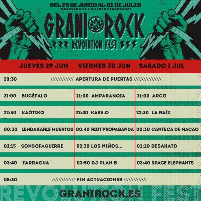 Horarios del Festival Granirock 2017 de Quintana de la Serena, Badajoz