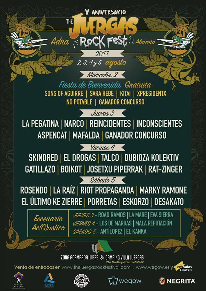Cartel por días del Juergas Rock Festival 2017 de Adra, Almería