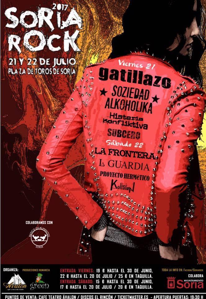 Gatillazo y Soziedad Alkohólika encabezan el cartel del Festival Soria Rock 2017