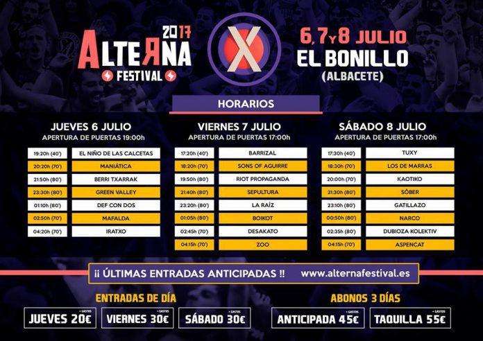 Horarios de actuaciones del Alterna Festival 2017 de El Bonillo, Albacete