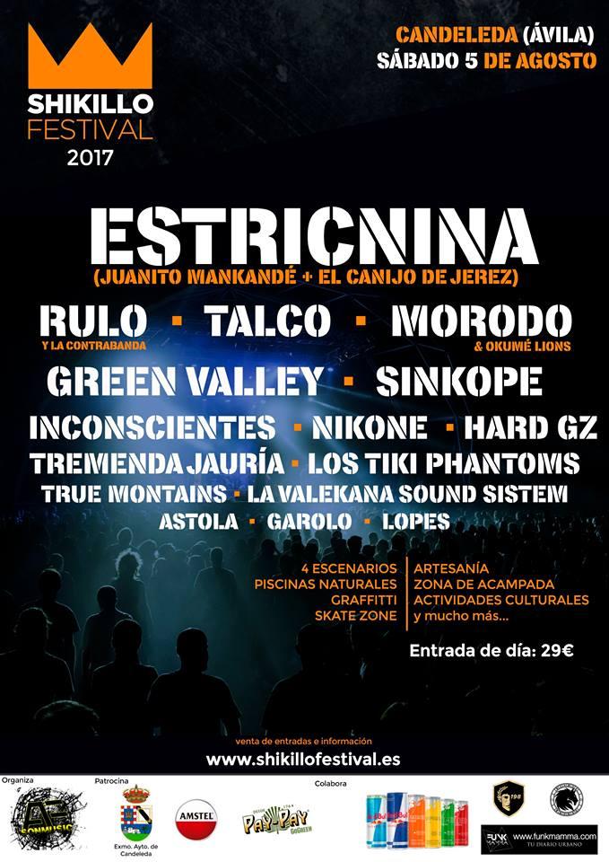 Cartel por días del Shikillo Festival 2017 de Candeleda, Ávila