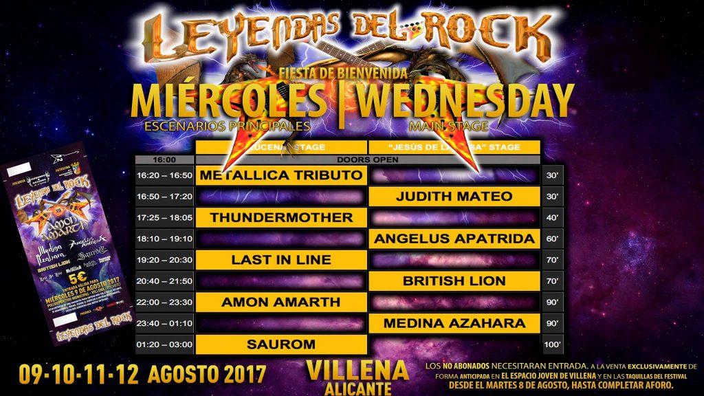 Horarios de actuaciones del Festival Leyendas del Rock 2017
