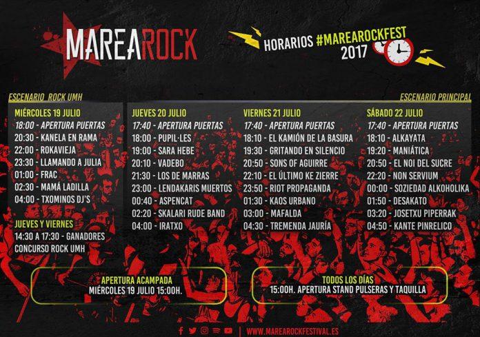 Horarios de actuaciones del Marearock Festival 2017 de Elche, Alicante