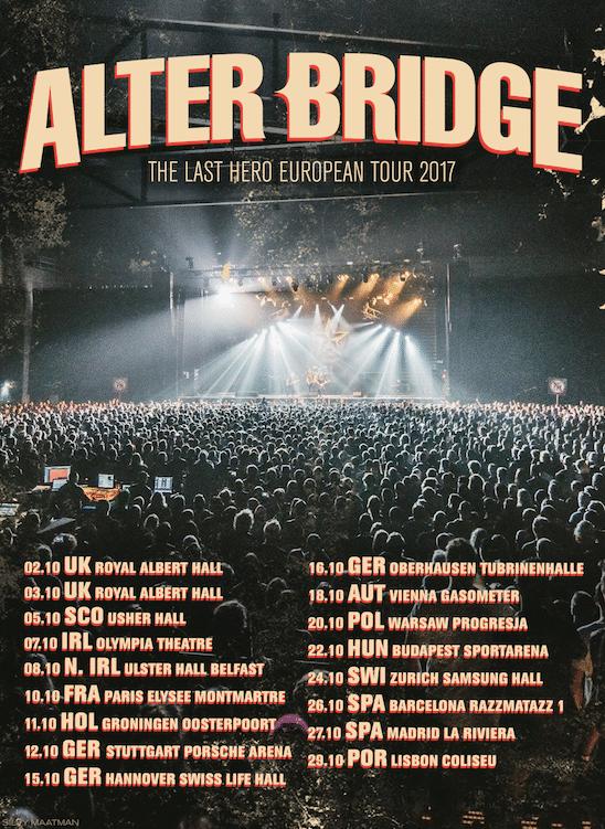 Alter Bridge visitarán Barcelona y Madrid durante su gira europea en octubre