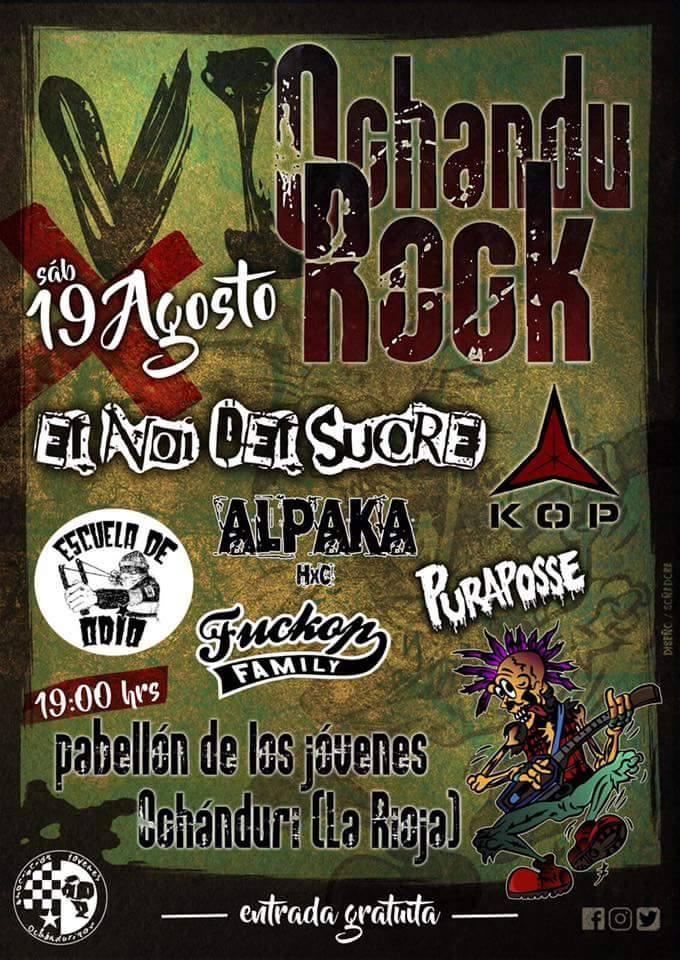 Cartel definitivo del festival gratuito Ochandu Rock 2017 de Ochánduri, La Rioja