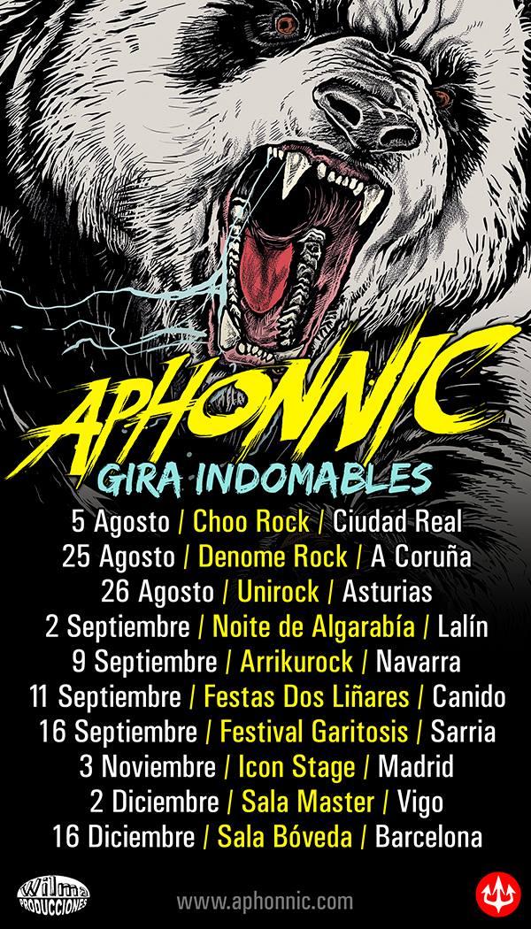 Próximas fechas confirmadas de Aphonnic presentando Indomables