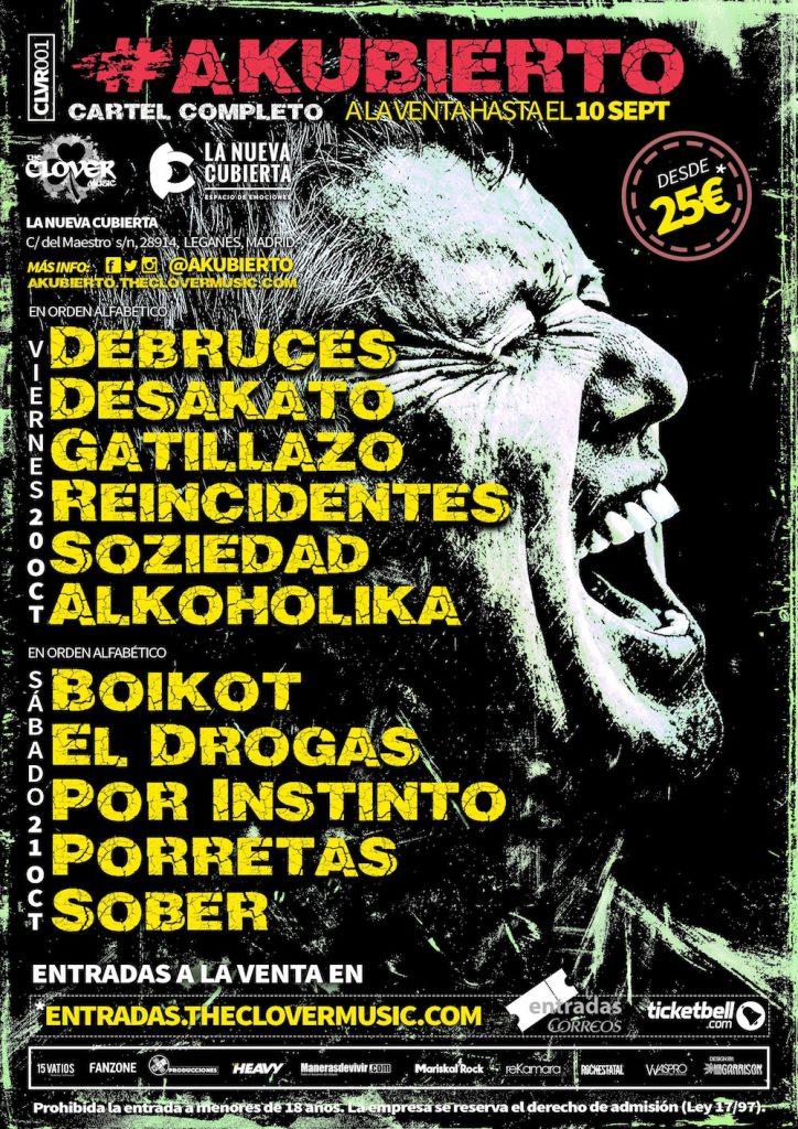 Cartel completo de la primera edición del Festival #Akubierto de Madrid