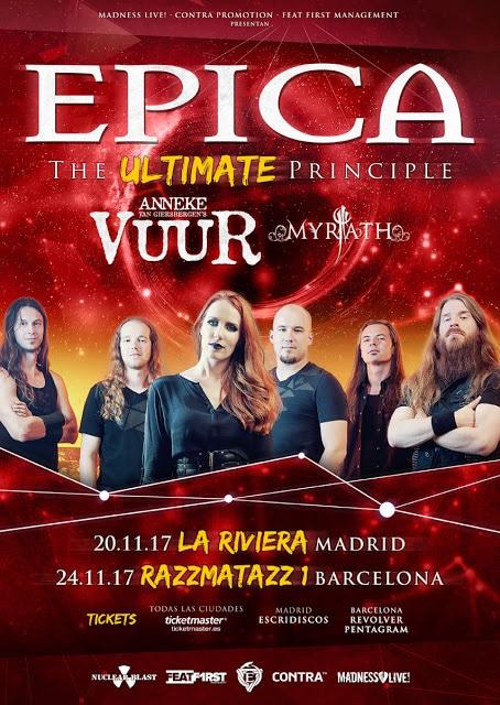 Epica actuarán en Madrid y Barcelona en el mes de noviembre