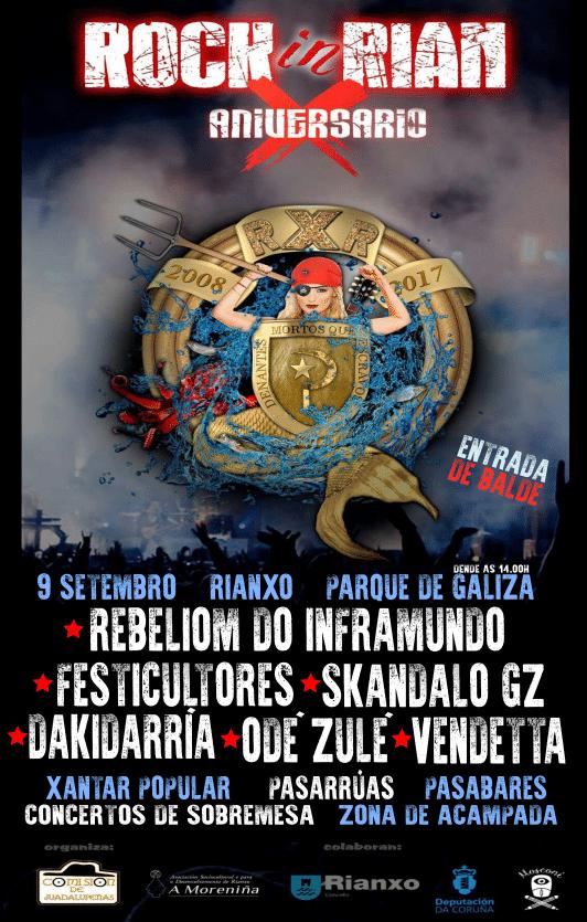 Cartel y horarios de la X edición del festival Rock In Rian de Rianxo, A Coruña