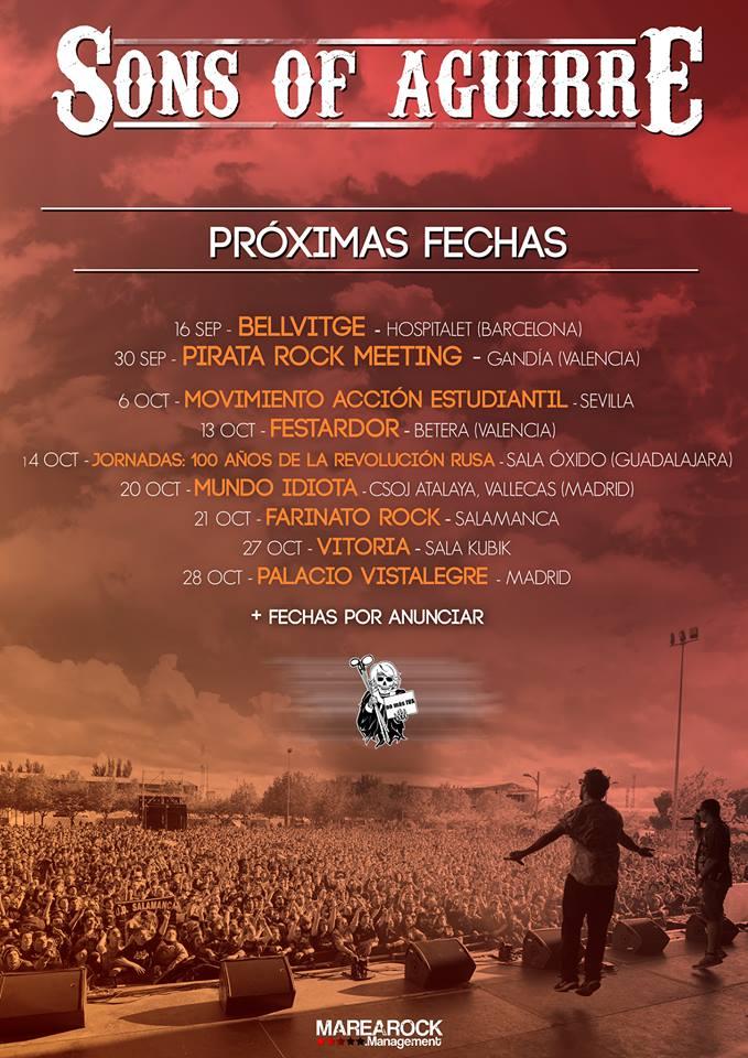 Próximas fechas de Sons of Aguirre para septiembre y octubre