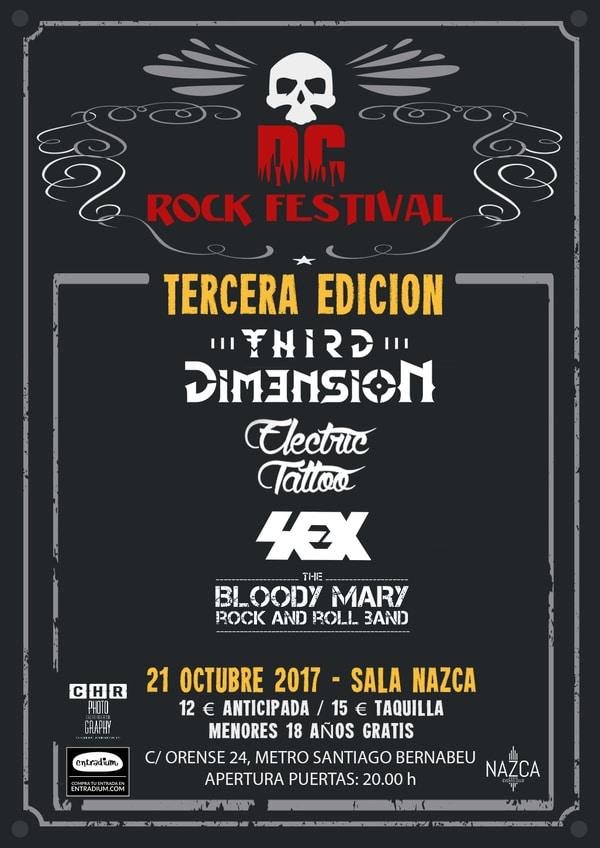 Cartel completo de la III edición del DC Rock Festival que se celebrará en Madrid