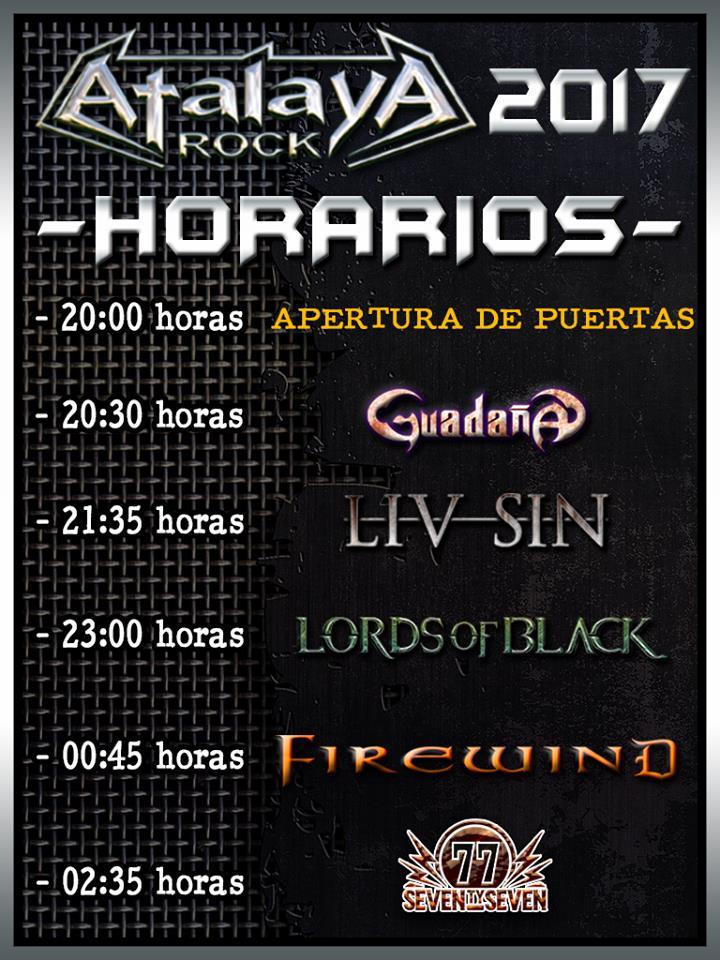 Cartel y horarios de la XIII edición del festival Atalaya Rock de Pozal de Gallinas, Valladolid