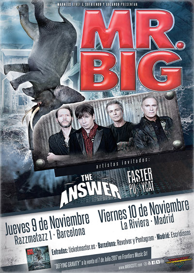 Mr. Big junto con The Answer y Faster Pussycat en Barcelona y Madrid a principios de noviembre