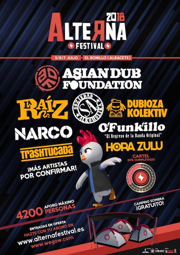 Primer avance de cartel del Alterna Festival 2018 de El Bonillo, Albacete