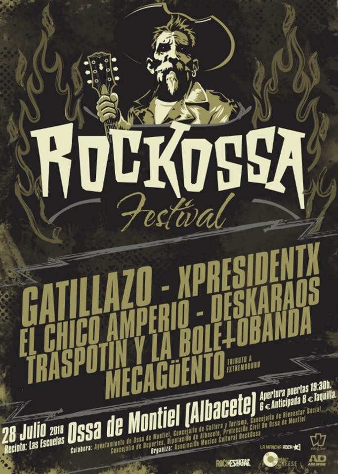 Cartel completo del Rockossa Festival 2018 de Ossa de Montiel, Albacete