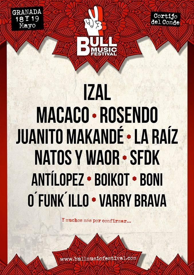 Primer avance de cartel de Bull Music Festival 2018 de Granada