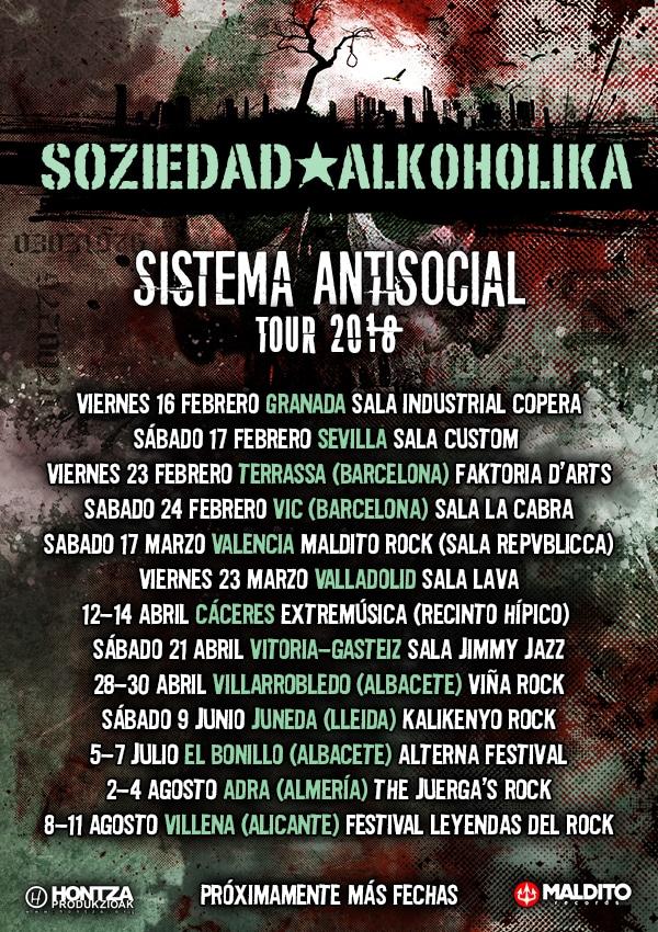 Próximas fechas de SOZIEDAD ALKOHÓLIKA en 2018 presentando Sistema Antisocial