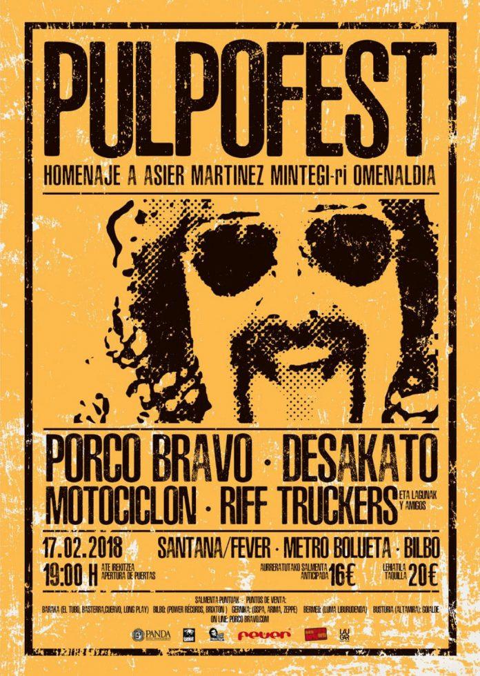 Cartel completo del festival PULPOFEST en homenaje a Asier Martínez