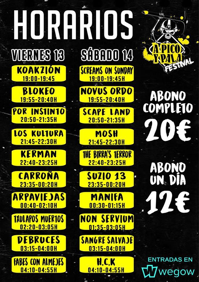 Festival A Pico y Pala 2018 - Cartel, grupos, entradas y horarios