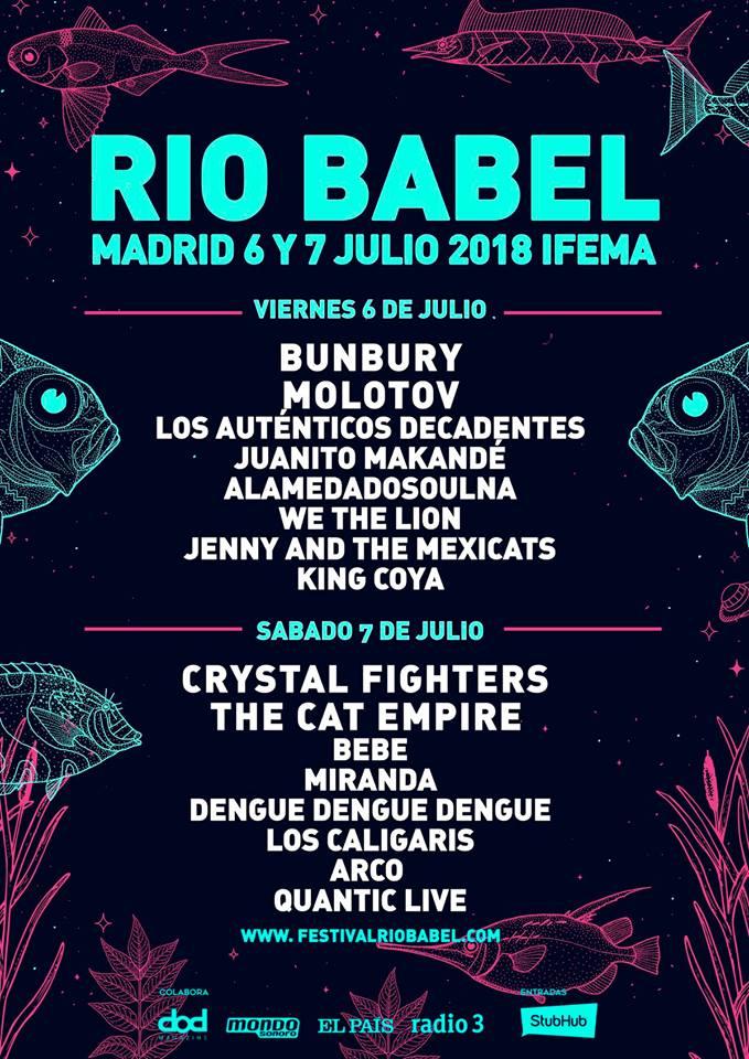 Festival Río Babel 2018 | Cartel, grupos, entradas, abonos, horarios y ubicación