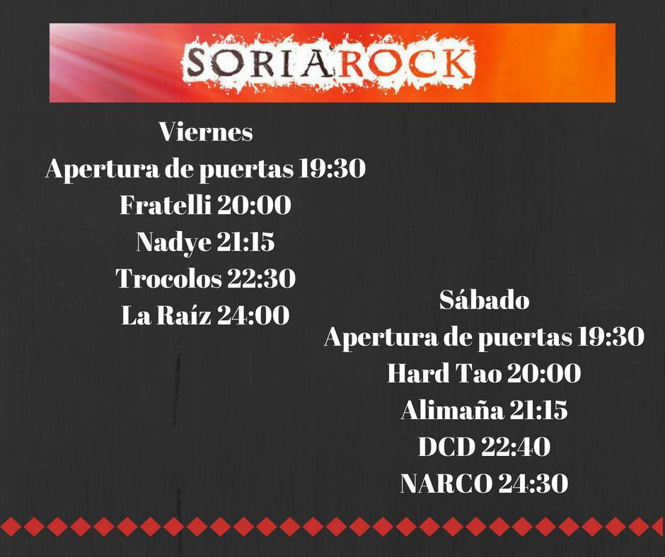 Soria Rock 2018 | Cartel, grupos, entradas, abonos, horarios y localización